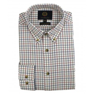 Viyella 80/20 Plum & Blue Tattersall Check Classic Fit Shirt with Button Down Collar