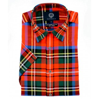 Viyella Classic Fit Royal Stewart Tartan Short Sleeve Supima Cotton & Linen Shirt