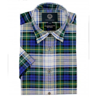 Viyella Classic Fit Campbell Dress Tartan Short Sleeve Supima Cotton & Linen Shirt