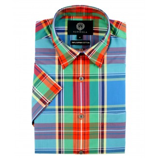 Viyella Classic Fit MacBeth Tartan Short Sleeve Supima Cotton Shirt