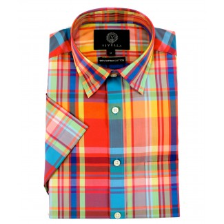 Viyella Classic Fit Bright Madras Check Short Sleeve Supima Cotton Shirt