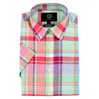Viyella Classic Fit Pastel Madras Check Short Sleeve Supima Cotton & Linen Shirt