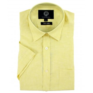 Viyella Classic Fit Plain Lemon Short Sleeve Linen Shirt
