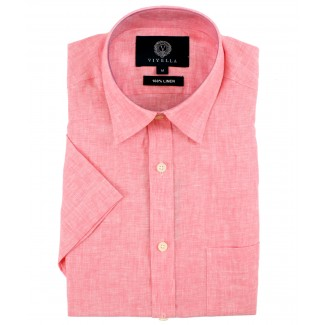 Viyella Classic Fit Plain Pink Short Sleeve Linen Shirt