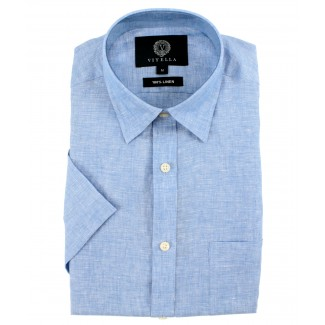 Viyella Classic Fit Plain Blue Short Sleeve Linen Shirt