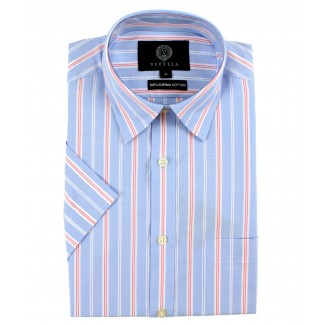 Viyella Classic Fit Blue Oxford Stripe Short Sleeve Supima Cotton Shirt
