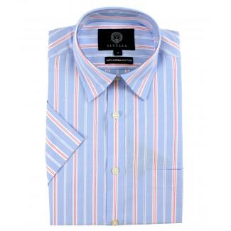 Viyella Classic Fit Blue Oxford Stripe Short Sleeve Supima Cotton Shirt