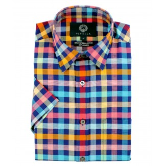 Viyella Classic Fit Blue with Bright Check Short Sleeve Supima Cotton & Linen Shirt