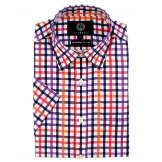 Viyella Classic Fit Navy Blue & Red Satin Check Short Sleeve Supima Cotton Shirt