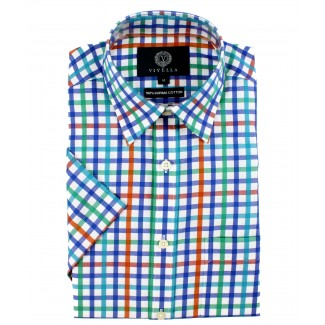 Viyella Classic Fit Blue Satin Check Short Sleeve Supima Cotton Shirt