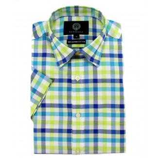Viyella Classic Fit Green & Blue Oxford Check Short Sleeve Supima Cotton Shirt