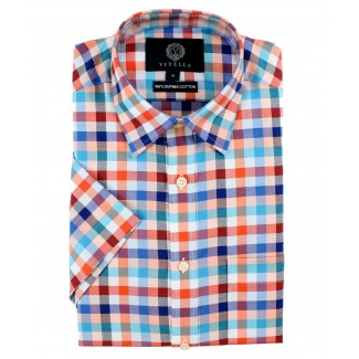 Viyella Classic Fit Red & Blue Oxford Check Short Sleeve Supima Cotton Shirt