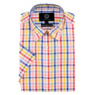 Viyella Classic Fit Multi Coloured Tattersall Check Short Sleeve Supima Cotton Shirt