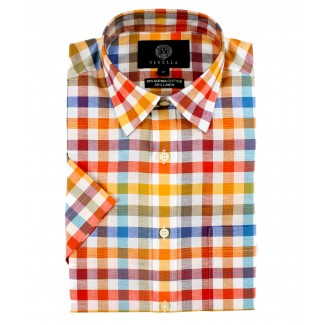 Viyella Classic Fit Bright Bold Check Short Sleeve Supima Cotton & Linen Shirt