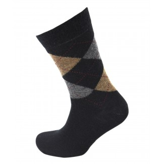 Viyella Made in England Mens Black Argyle Wool Socks