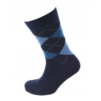Viyella Made in England Mens Navy Blue Argyle Wool Socks
