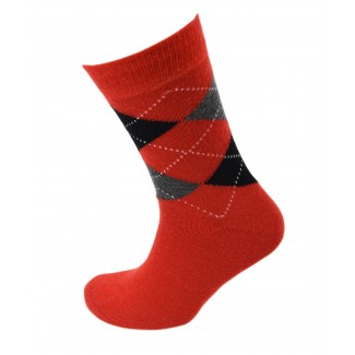 Viyella Made in England Mens Poppy Red Argyle Wool Socks