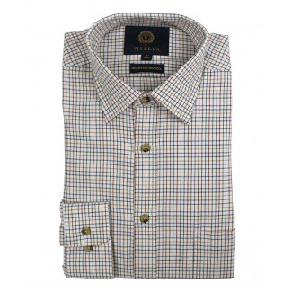 Viyella Plum Mini Tattersall Check 80/20 Cotton Wool Blend King Size Shirt