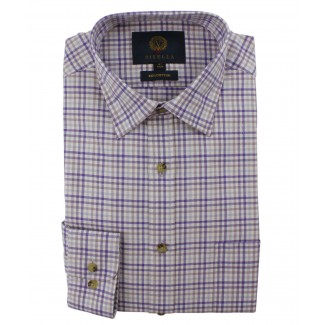 Viyella Lilac & Purple Small Club Check Cotton Shirt