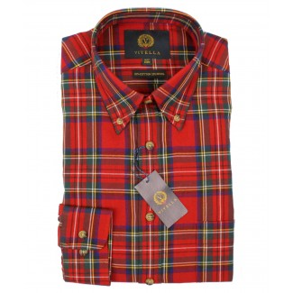 Viyella Red Royal Stewart Tartan 80/20 Cotton Wool Blend Button Collar Down Shirt