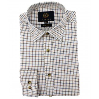 Viyella Cotton Russet Tattersall Classic Fit Shirt