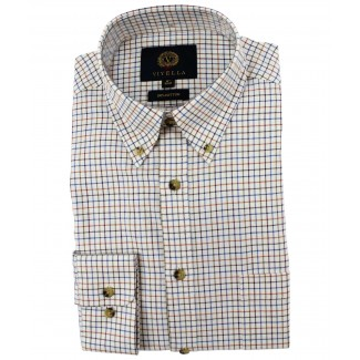 Viyella Cotton Russet Tattersall Classic Fit Shirt with Button Down Collar