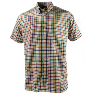 Viyella Multi-Coloured Oxford Tattersall Short Sleeve Cotton Shirt