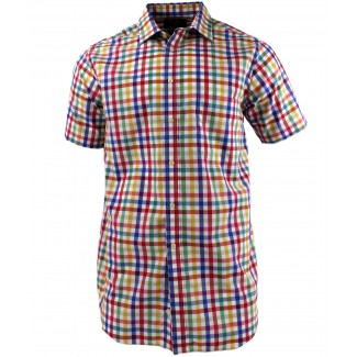 Viyella Multi-Coloured Block Tattersall Short Sleeve Cotton Shirt