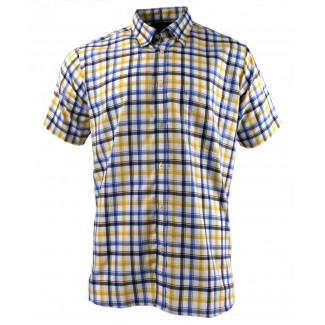 Viyella Blue Oxford Edged Check Short Sleeve Cotton Shirt