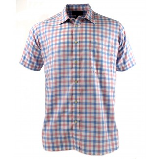 Viyella Pink Royal Oxford Check Short Sleeve Cotton Shirt