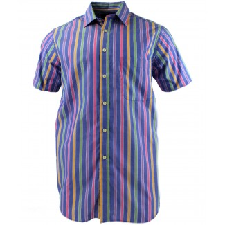 Viyella Blue Candy Stripe Short Sleeve Cotton Shirt