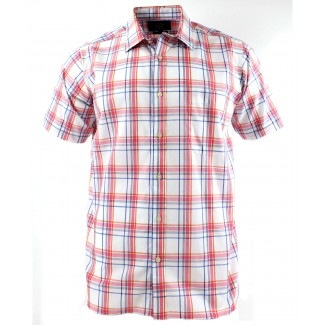 Viyella Pink Open Check Short Sleeve Cotton Shirt