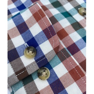Viyella 80/20 Red, Green & Blue Melange Club Check Classic Fit Shirt with Button Down Collar