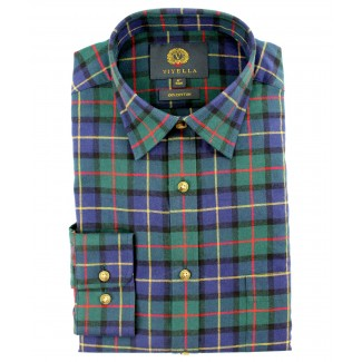 Viyella Cotton Green & Blue Club Check Classic Fit Shirt