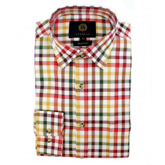 Viyella Cotton Multicoloured Tattersall Check Classic Fit Shirt