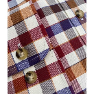 Viyella Cotton Brown & Blue Edged Check Classic Fit Shirt
