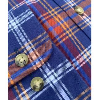 Viyella Cotton Blue Plaid Classic Fit Shirt