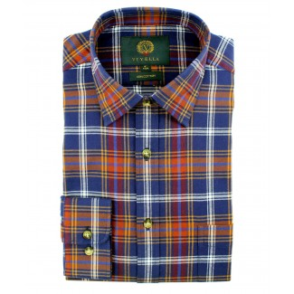 Viyella Cotton Blue Plaid Classic Fit Shirt