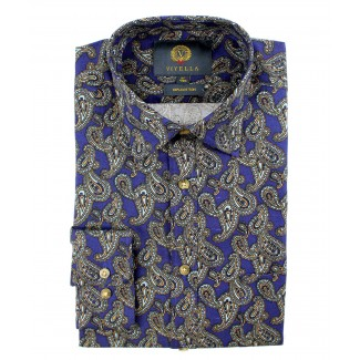 Viyella Cotton Blue Paisley Print Classic Fit Shirt