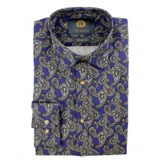 Viyella Cotton Blue Paisley Print Classic Fit Shirt