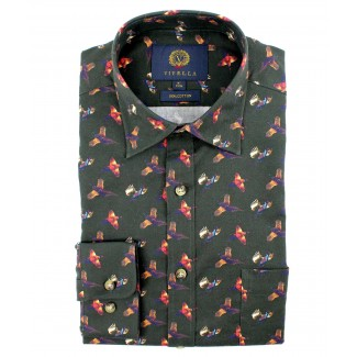 Viyella Cotton Green Pheasant Print Classic Fit Shirt